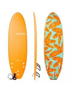 Refurbished Olaian Foam Surfboard 500 6' Supplied with a Leash and 3 Fins